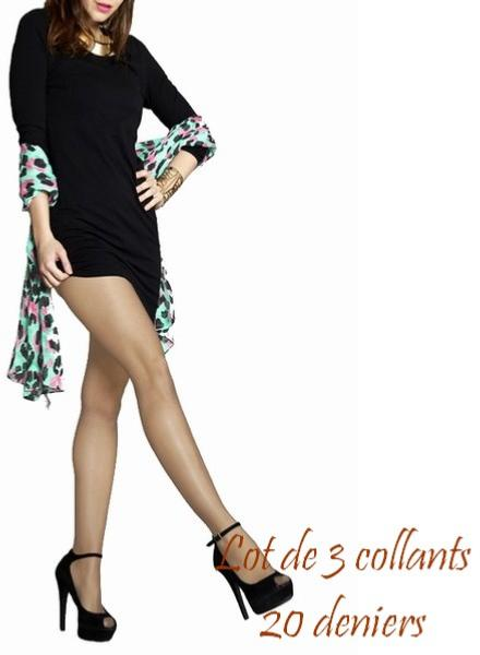 Lot de 3 collants ambres 20 deniers